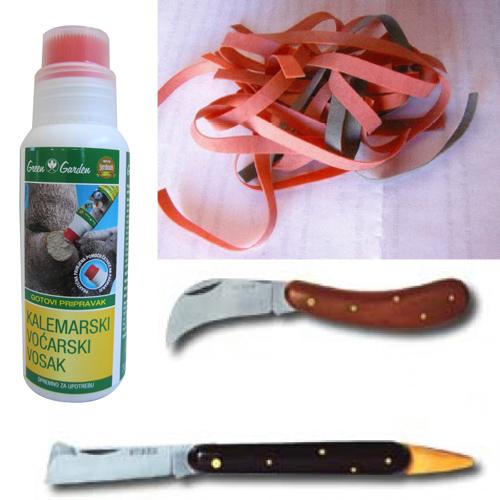 Cjepljarski pribor, nož, vosak, gumice